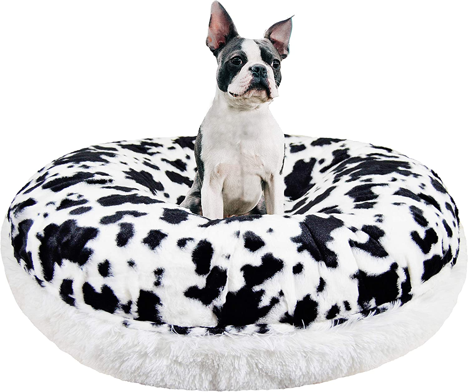 BESSIE AND BARNIE Signature Spotted Pony Snow White Luxury Shag Extra Plush Faux Fur Bagel Pet Dog Bed Multiple Sizes