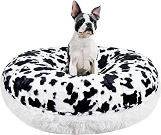 product image for BESSIE AND BARNIE Signature Spotted Pony/Snow White Luxury Shag Extra Plush Faux Fur Bagel Pet/Dog Bed (Multiple Sizes)