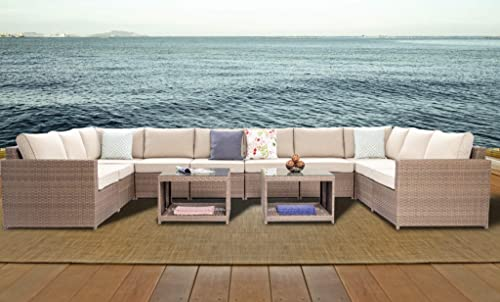 DIMAR garden 12 Piece Outdoor Wicker Patio Furniture Sofa Conversation Set