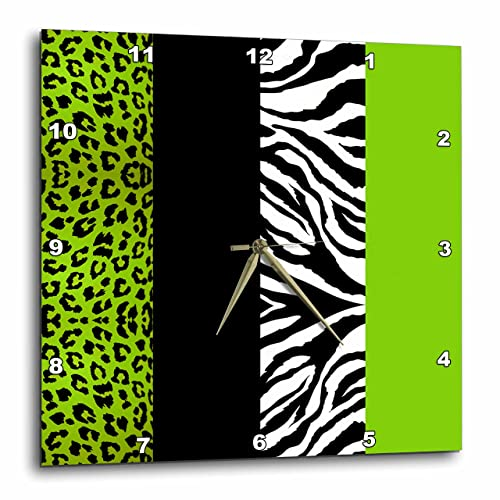 3dRose DPP_35440_2 Lime Green Black and White Animal Print Leopard and Zebra Wall Clock, 13 by 13-Inch