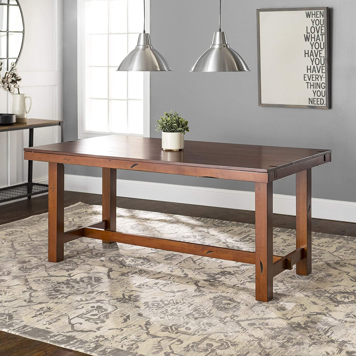 WE Furniture Rustic Farmhouse Wood Distressed Dining Room Table with Expandable Leaf, Oak Brown