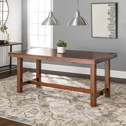WE Furniture Rustic Farmhouse Wood Distressed Dining Room Table with Expandable Leaf, 60 Inch, 6-8 Person, Oak Brown