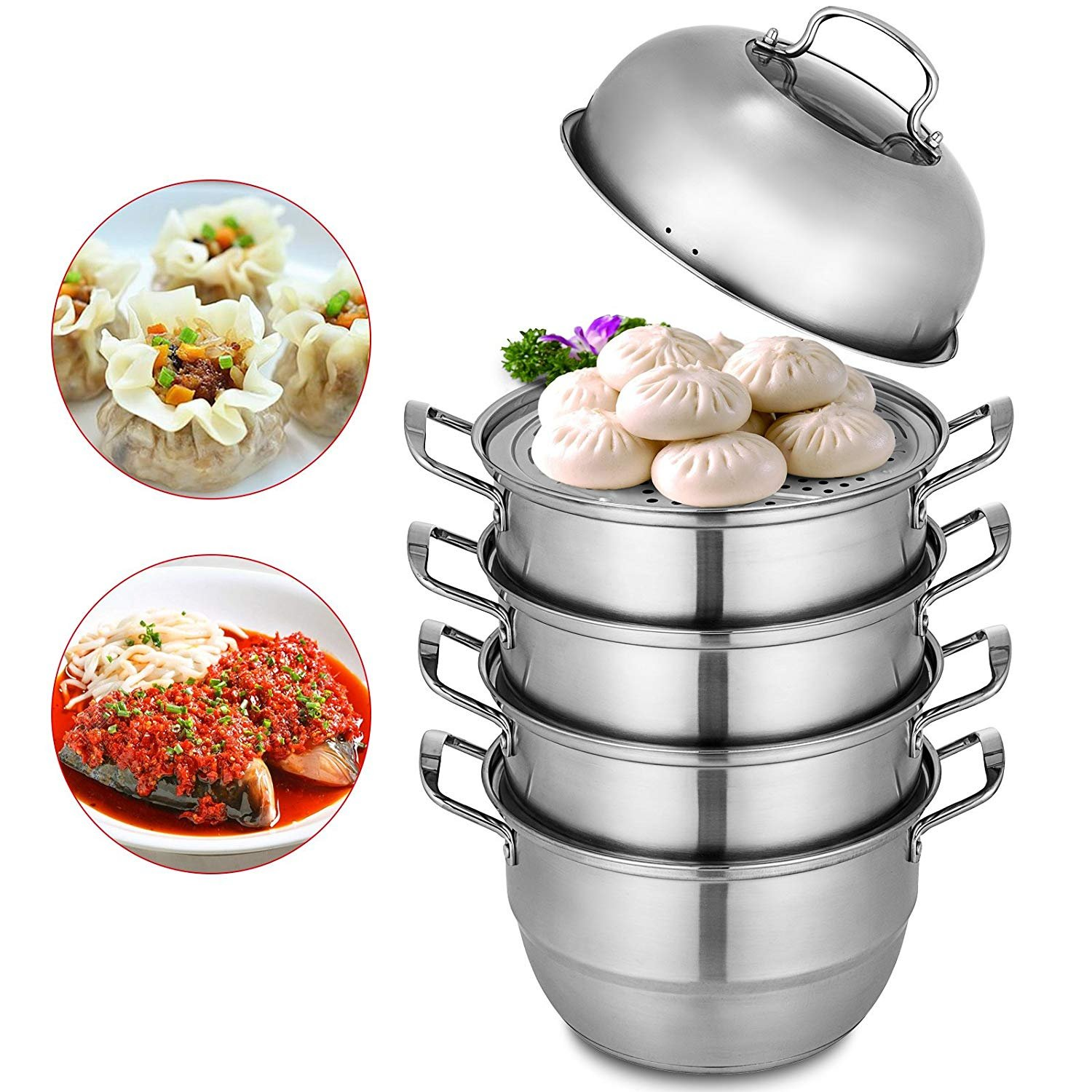 Hopopular Dumpling Steamer Stainless Steel 5 Titer Stainless Steel Steamer Work For Cooking 30cm/11.8inch Food Steamer Pot with Gas Electric Grill Stove Top (Dia 28cm)