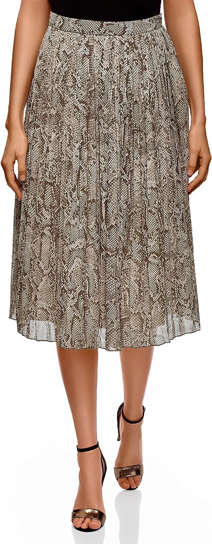 oodji Collection Mujer Falda Midi Plisada, Gris, ES 36 / XS ...