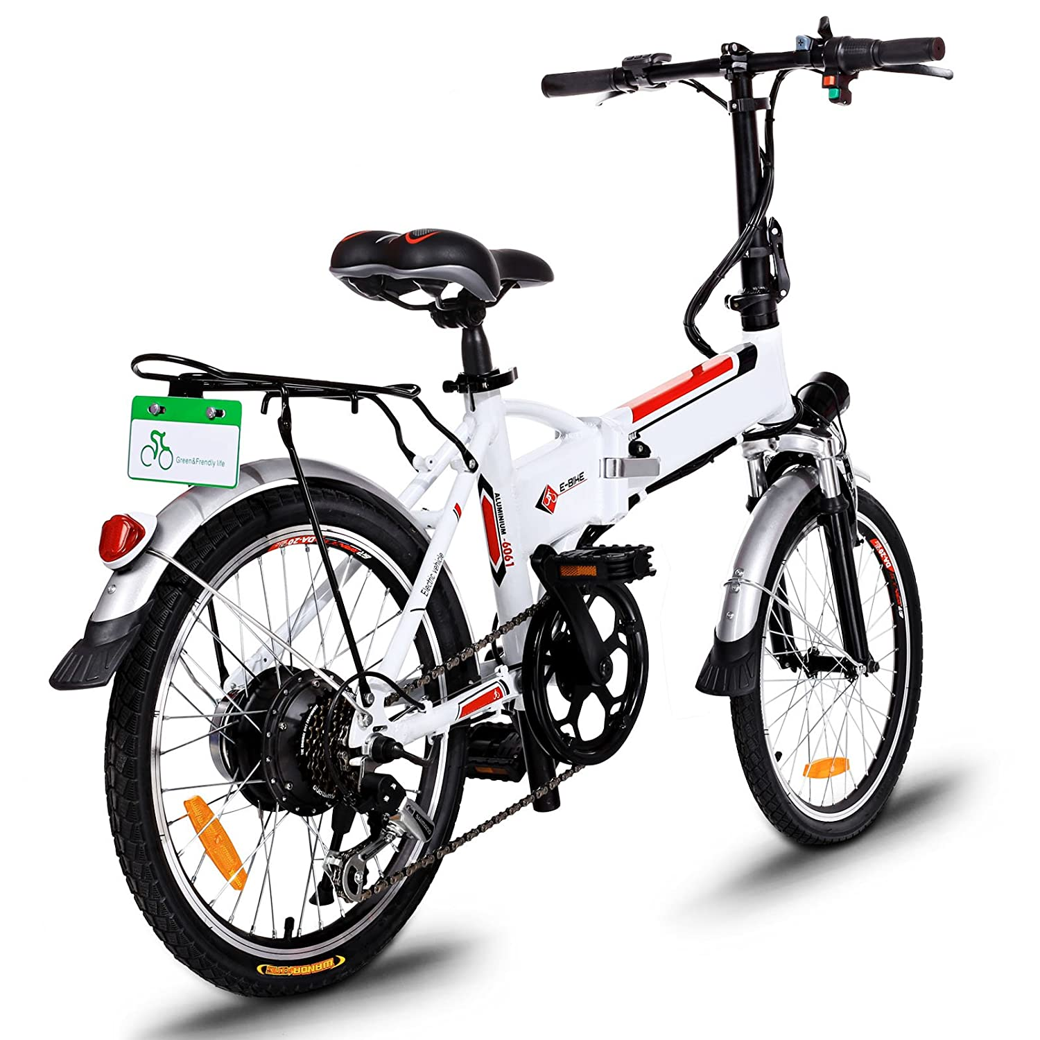 Hurbo Folding Electric Bike with Removable 36V 8Ah Lithium-Ion Battery Lightweight and Aluminum Ebike with with 250W Powerful Motor and 7 Speed Shifter Fast Battery Charger