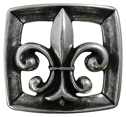 Fronhofer Boucle de ceinture à fleur de lys, boucle pour femme dans un  coloris argent vieilli, boucle pour sangle de ceinture de 4 cm de large,  18077, ... e5de39dad6e