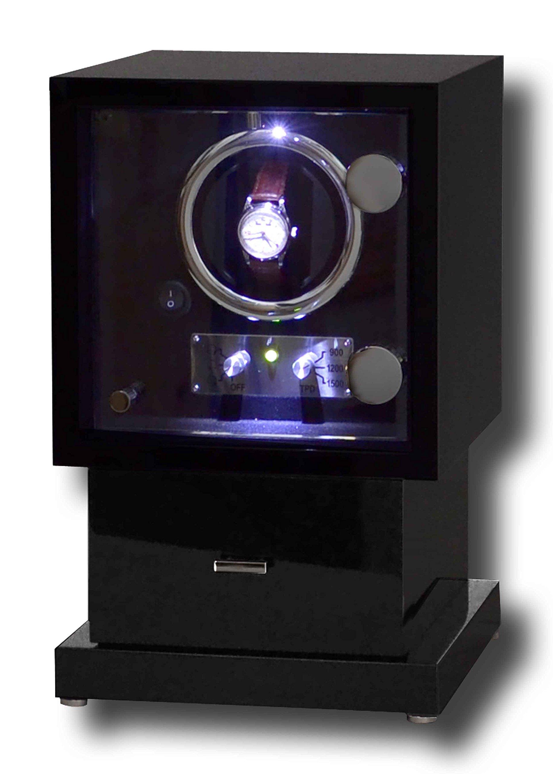LED Watch Winder Black Piano Wood Chrome Finish (Single Watch Winder with 4 Watch Storage)