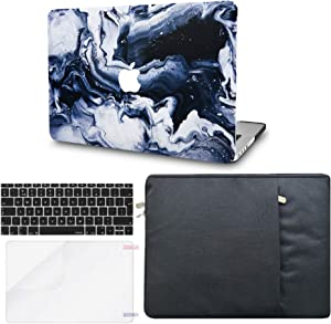 """KECC Laptop Case for MacBook Air 13"""" w/Keyboard Cover + Sleeve + Screen Protector (4 in 1 Bundle) Plastic Hard Shell Case A1466/A1369 (Black Grey Marble)"""