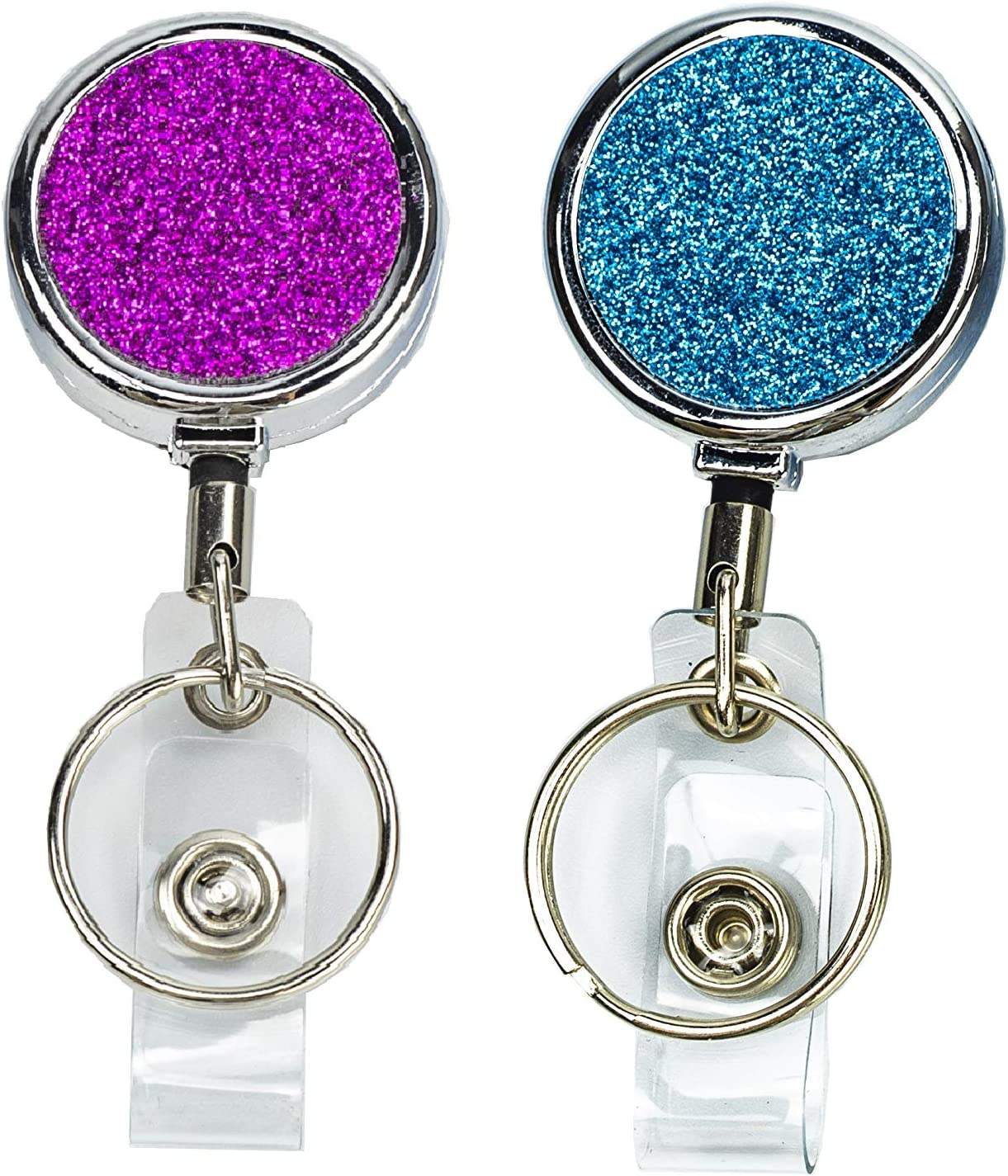 2 Pack Retractable Badge Holder, Stainless Steel Badge Reel Retractable Card Holder with Key Ring Backing Belt Clip for Nurse, Volunteer, Teacher, Student, Office, Party Worker (Glitter Powder)