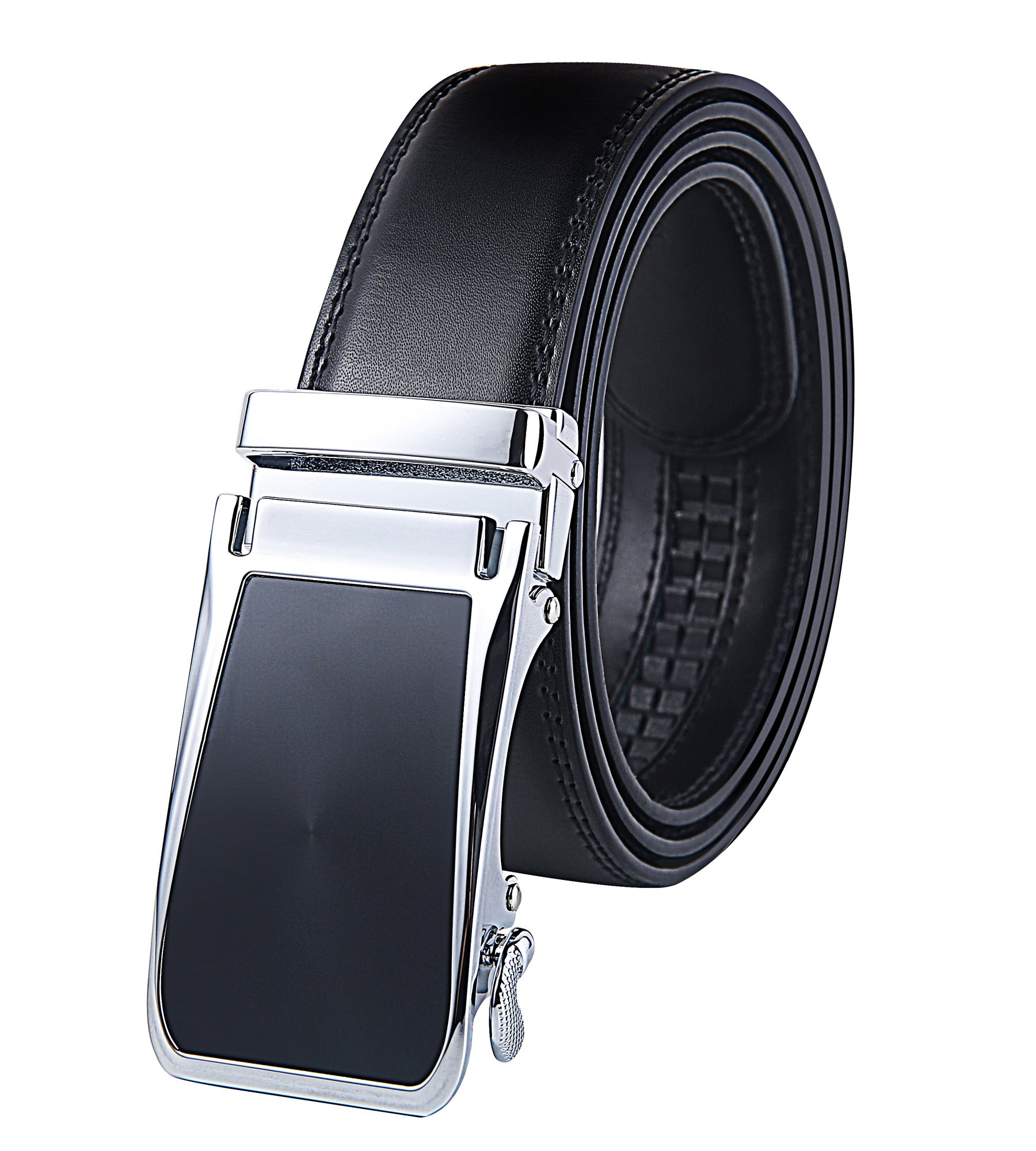 Weifert Men's Belts for Dress Leather Ratchet Belt Automatic Buckle 1.3'' Wide (34''-40''Waist Adjsutable, Black1)