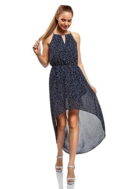 oodji Ultra Mujer Vestido de Tejido Ligero con Parte Inferior Asimétrica, Azul, ES 36