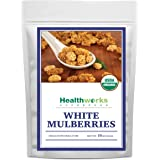 Healthworks White Mulberries (16 Ounces / 1 Pound) | Certified Organic, All-Natural & Sun-Dried | Keto, Vegan & Non-GMO | Baking & Smoothies | Antioxidant Superfood