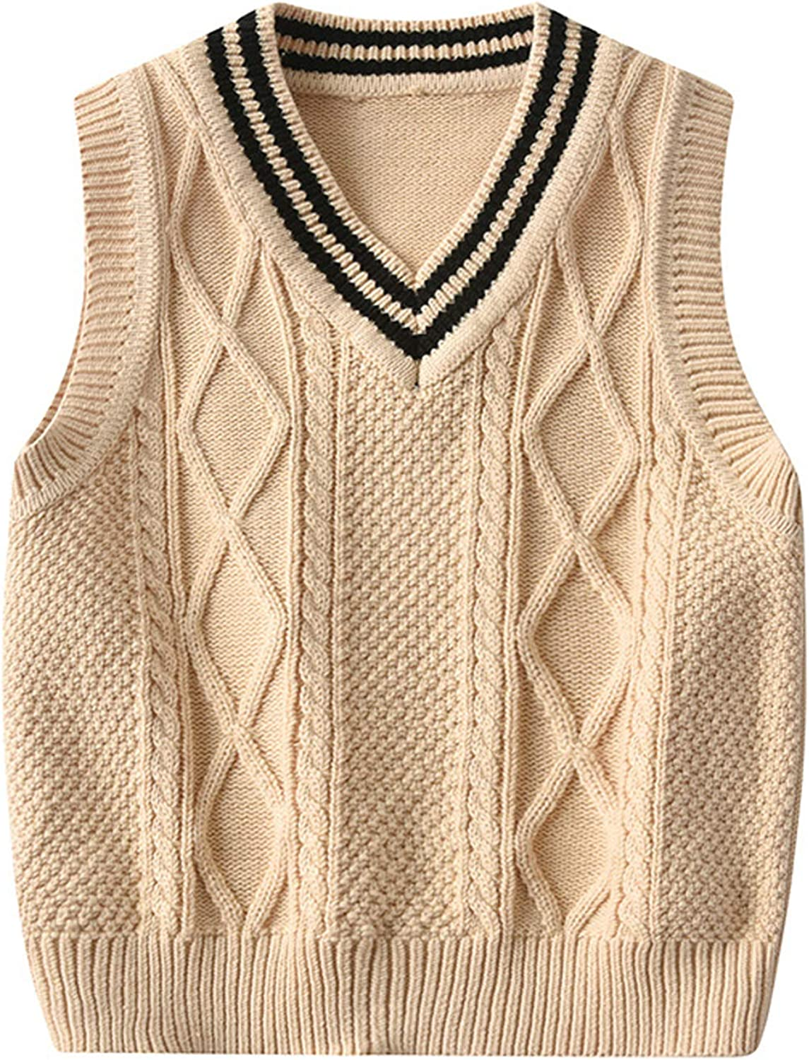 Happy childhood Baby Toddler Boys Solid Color V Neck Sweater Vest Sleeveless Pullover Knitted Waistcoat Yellow 110