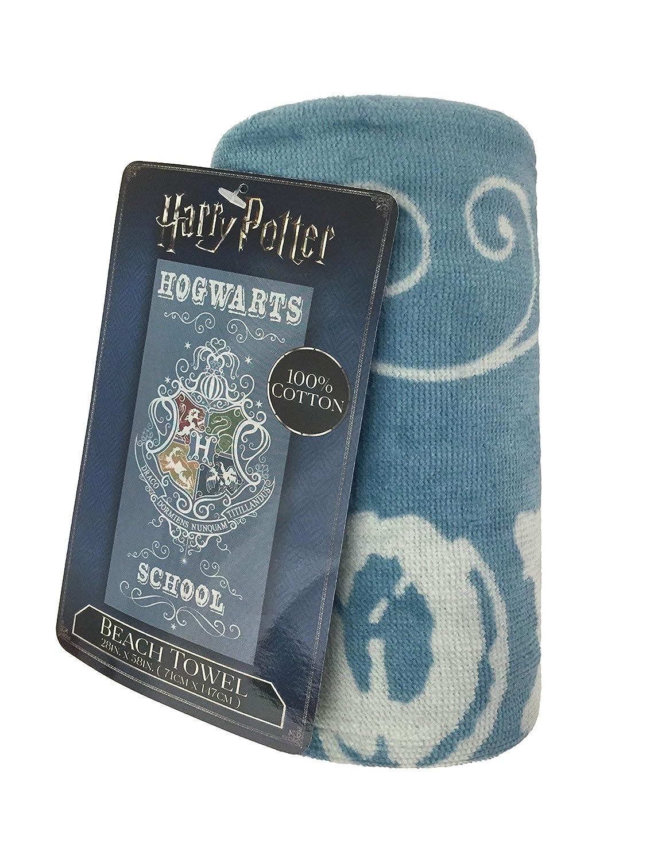 Harry Potter Hogwarts - Toalla de Playa, Muy Suave, Absorbente, con Las Cuatro Casas de Hogwarts - Toalla de Rizo de Algodón Resistente a la Decoloración, ...