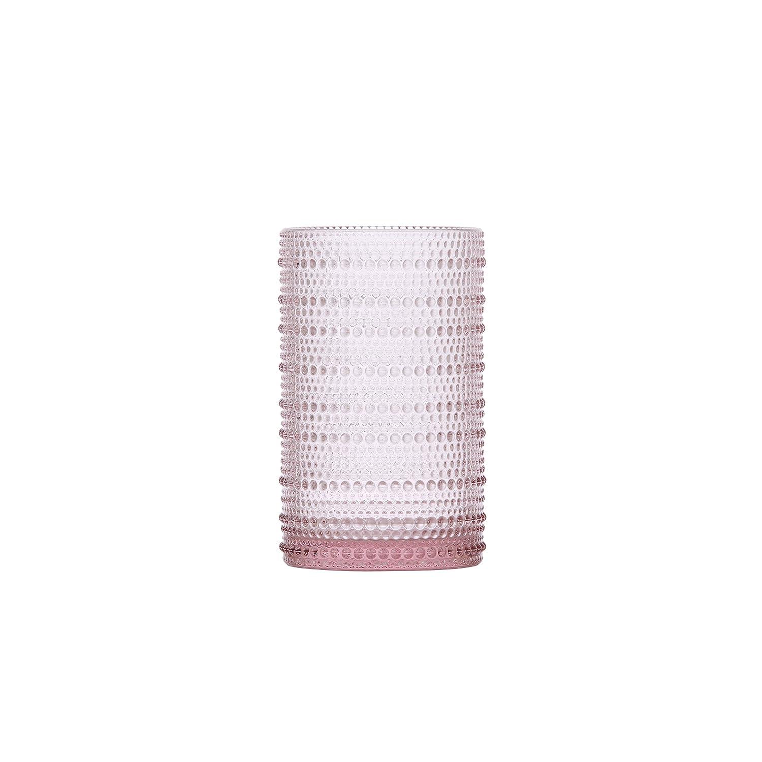 D&V Jupiter Glass Collection Iced Beverage, 13 Ounce, Pink, Set of 6