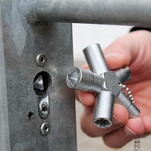 etc ABSINA Llave universal con cuadradillo doble palet/ón y media luna sistemas de cierre - Llave para armario de distribuci/ón Llave multifuncional para armario de distribuci/ón triangular