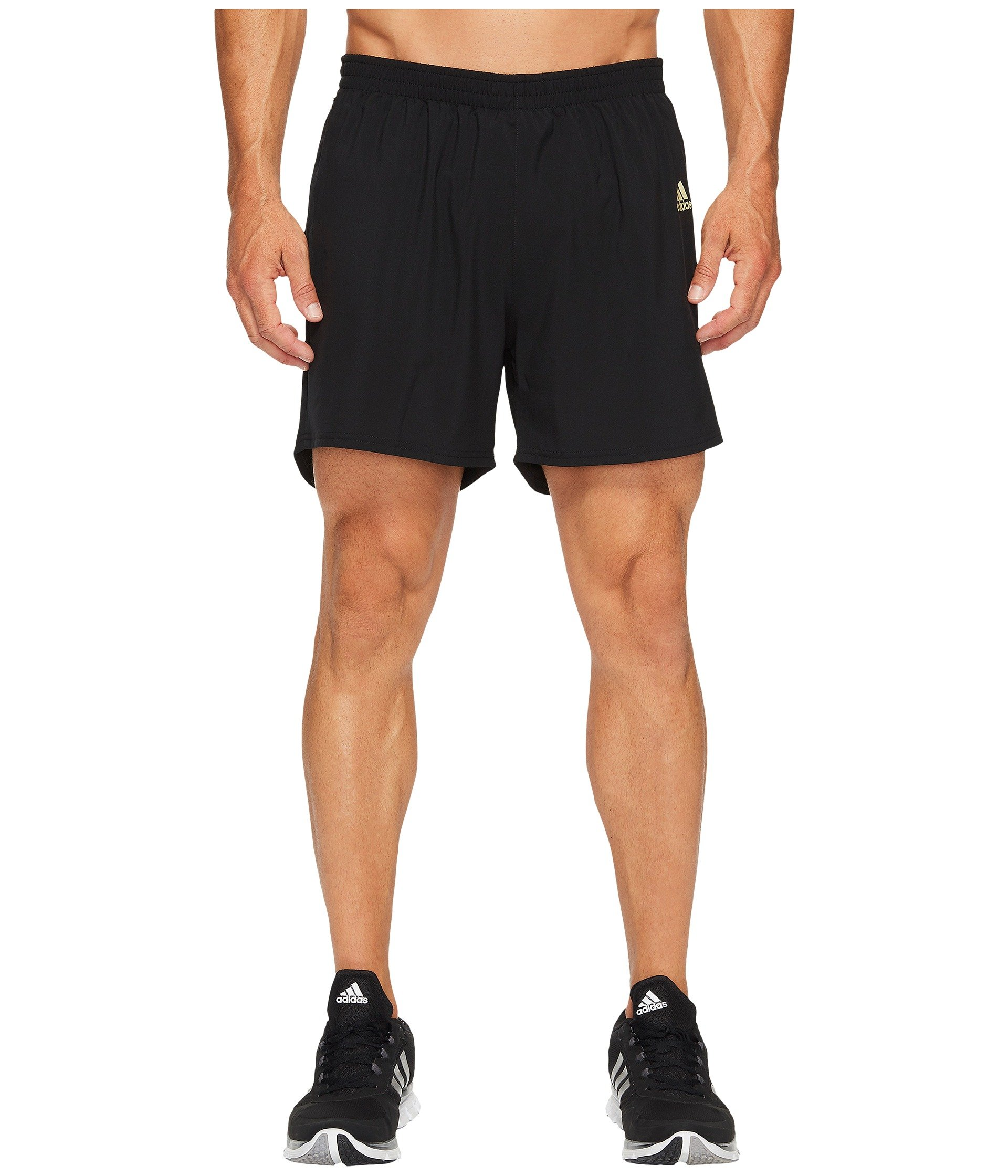 adidas Men's Running Response Shorts, Black/Gold Metallic, Large 7''