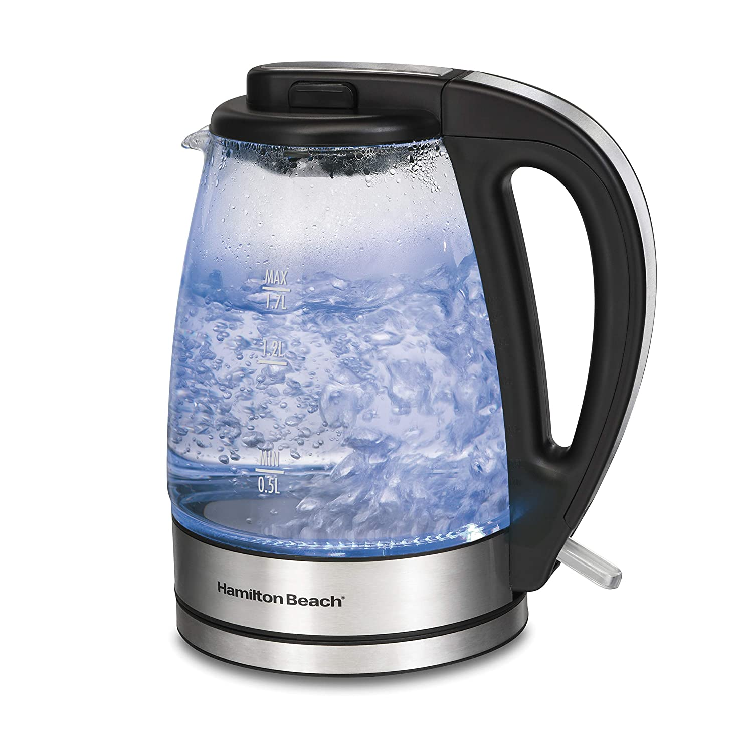Hamilton Beach 1.7 L Glass Electric Kettle for Tea and Water, Cordless, LED Indicator, Auto-Shutoff and Boil-Dry Protection, Brushed Metal (40865),