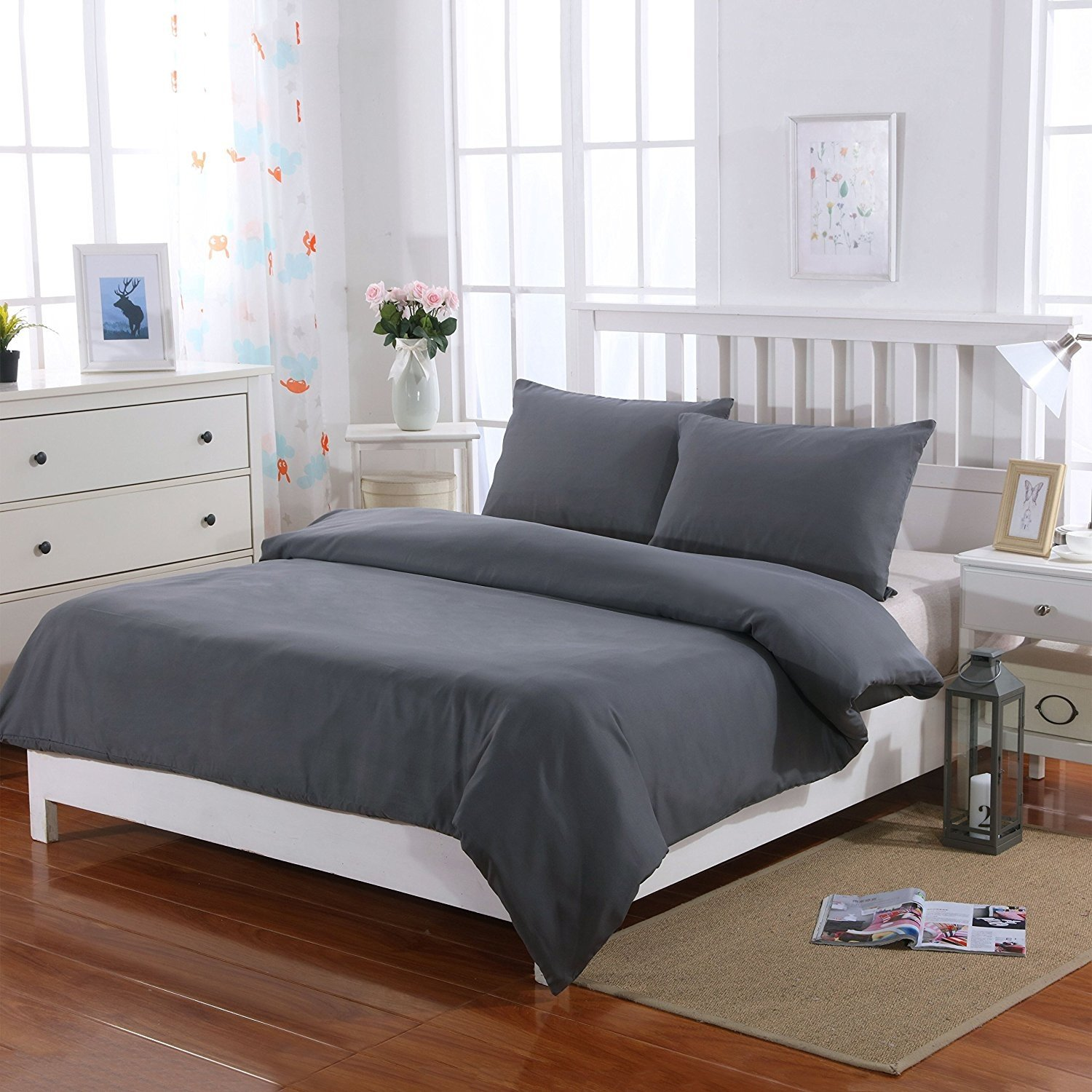 AYSW 3-Pieces Double Duvet Cover Set Plain Brushed Microfiber Plain Bedding Duvet Cover with 2 Pillowcases (Grey) AYA