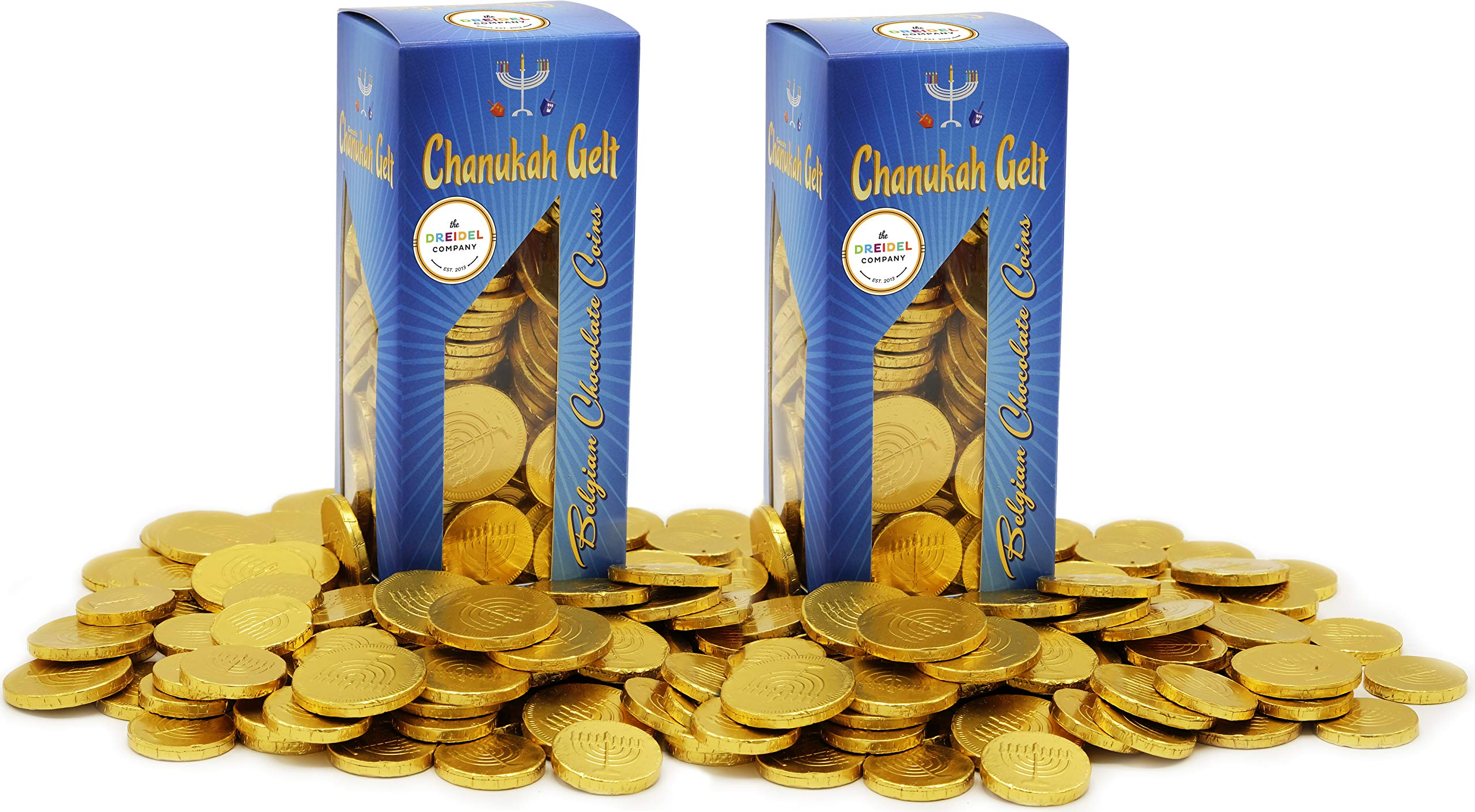 Hanukkah Chocolate Gelt - Nut Free - Belgian Milk Chocolate Coins - 2LB - Over 200 Coins - OU D Kosher Chanukah Gelt (2-Pack) by The Dreidel Company