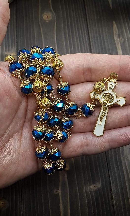 Bolso de Terciopelo Nazareth Store Rosario de San Benito Chapado en Oro Collar cat/ólico Azul Profundo 10 mm Cristales Cuentas Medalla Santa Milagrosa