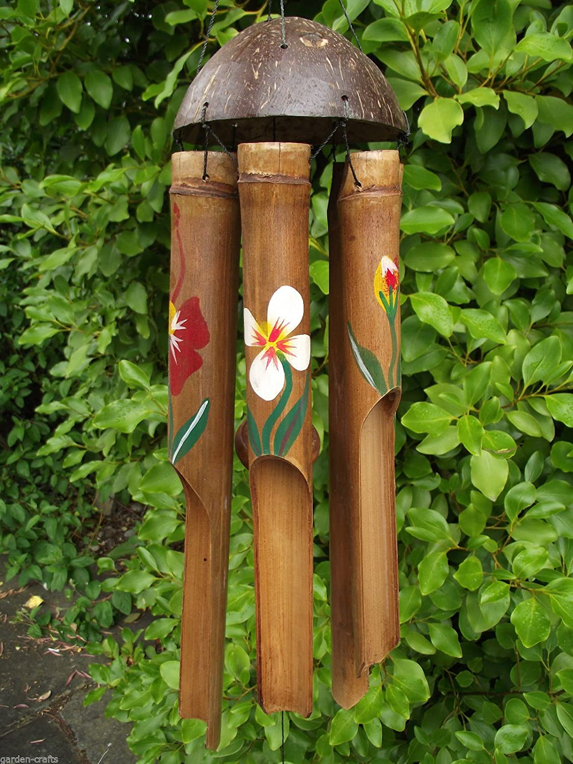 COLOURFUL HIBISCUS FLOWER BAMBOO WIND CHIME - Fair Trade & Handmade - 45cm, FREE POST!