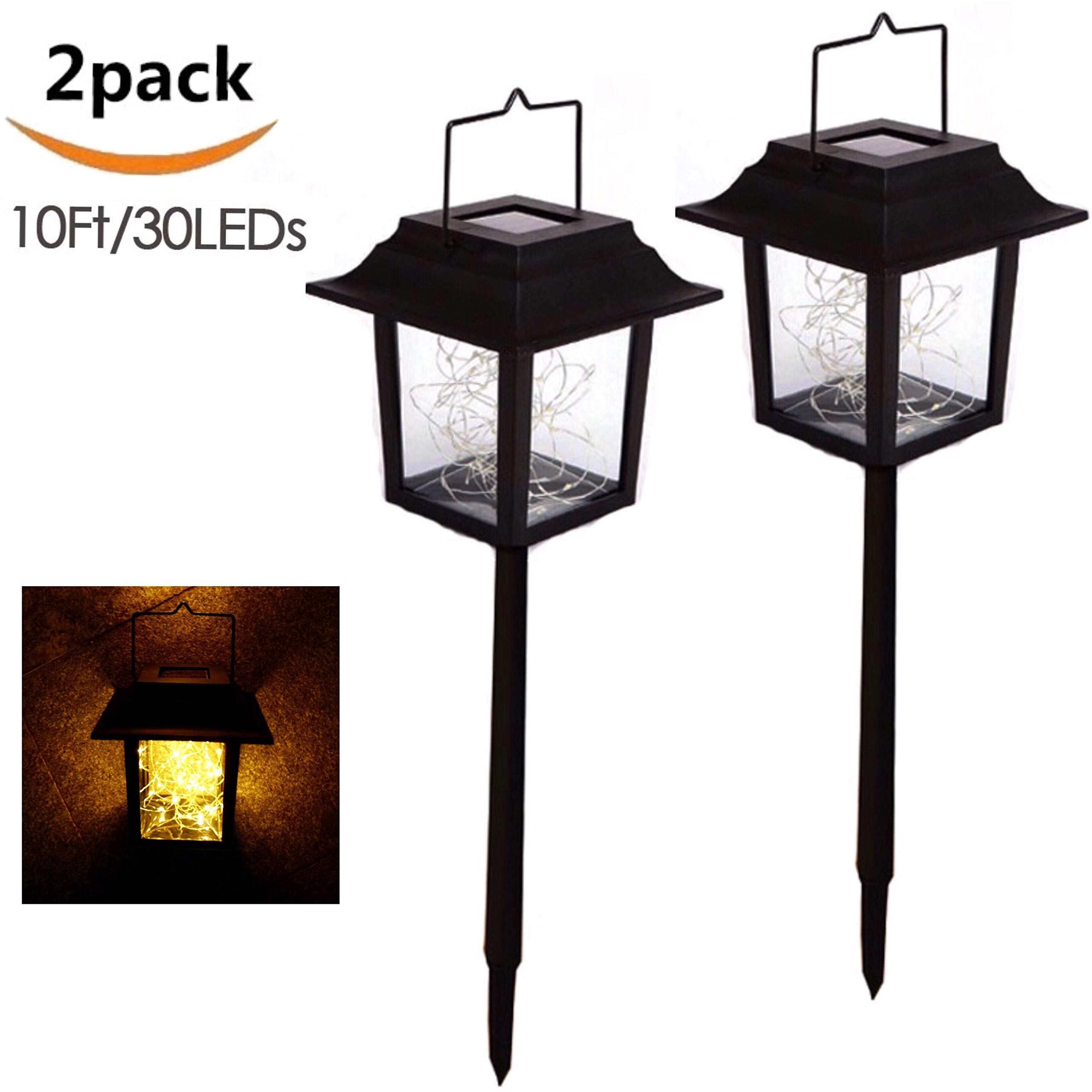 Garden Solar Stake Lights Outdoor Solar Pathway Lights Waterproof Solar Landscape Lights for Garden, Path, Yard, Patio, Driveway, Walkway, Lawn - 2 Pack(String Lights-Warm White)