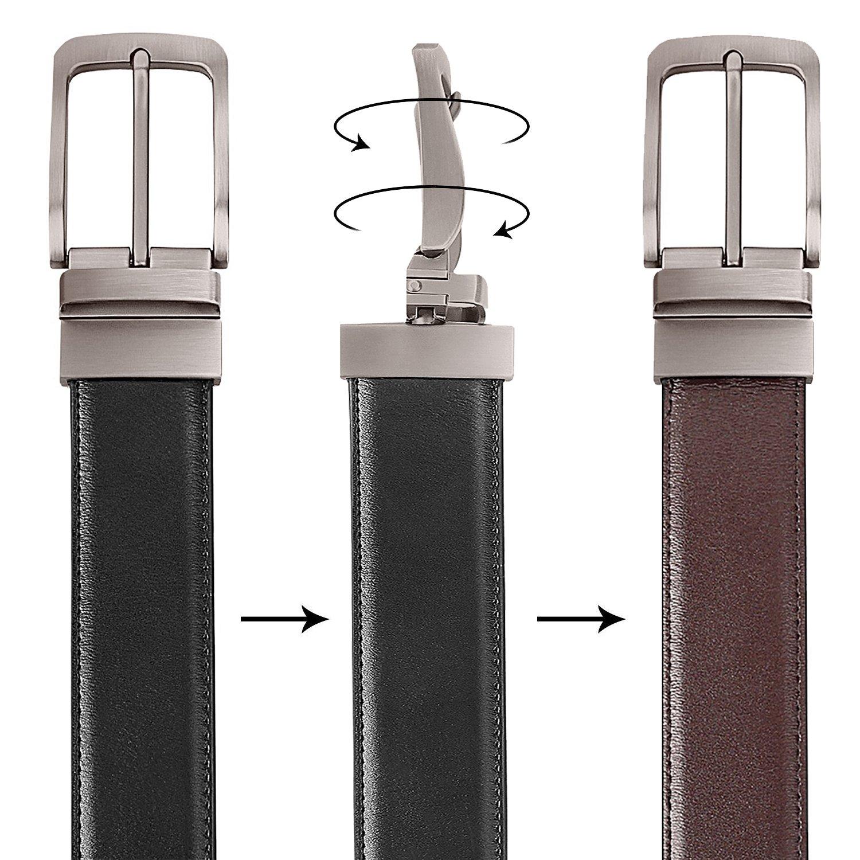 125cm 138cm TERSE Natale Cintura Uomo Vera Pelle Fibbia reversibile Nero Marrone Genuine Leather 3.5cm Larghezza Lunghezza 110cm