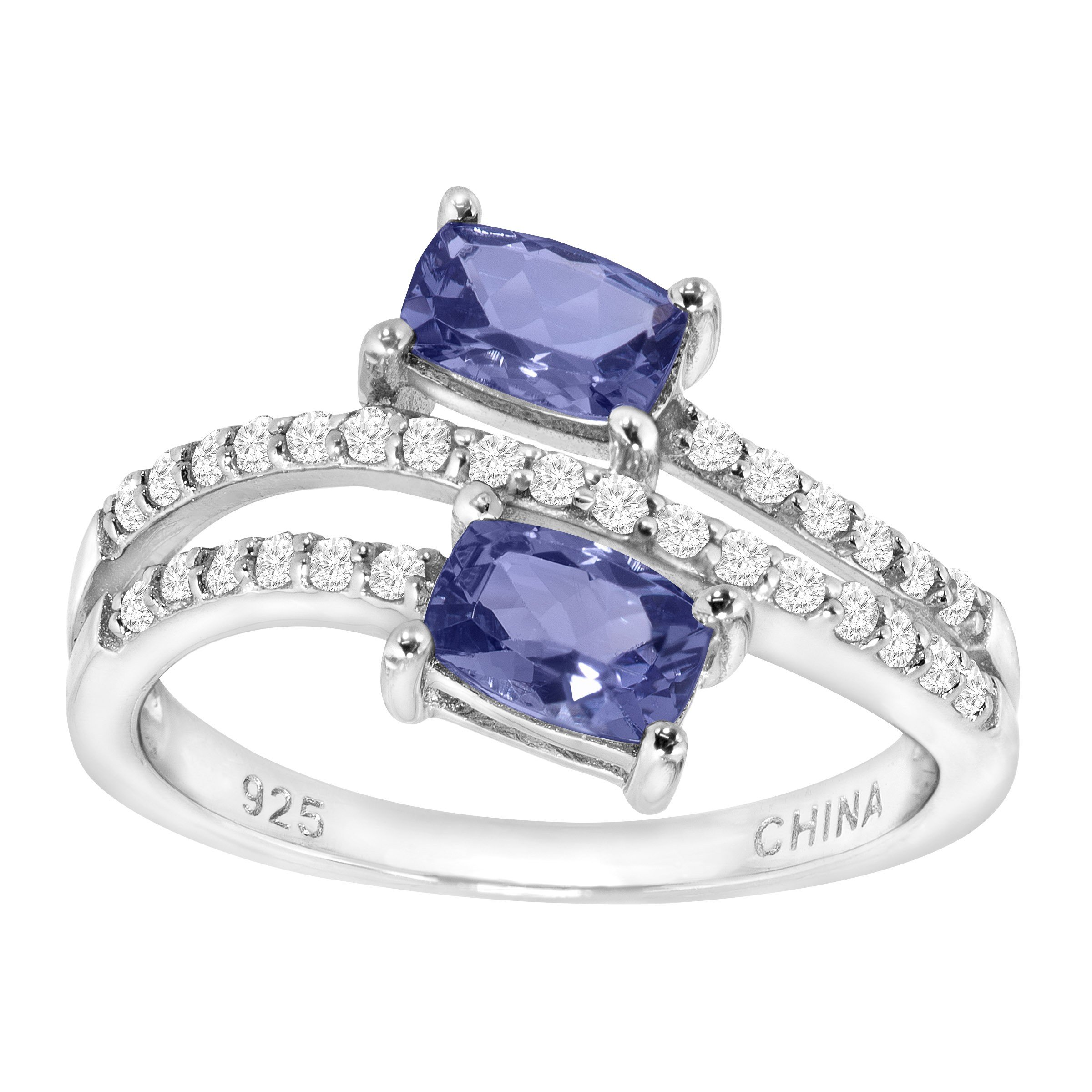 1 1/3 ct Natural Tanzanite & Cubic Zirconia Bypass Ring in Sterling Silver Size 6