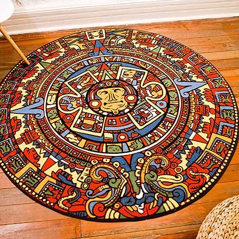 Amazon.com: Retro Indian Amazing Colorful Maya Totem Round Carpet Sofa Tea Table Carpet Bathroom Non-Slip Yoga Bohemian Pad Mat: Home Improvement