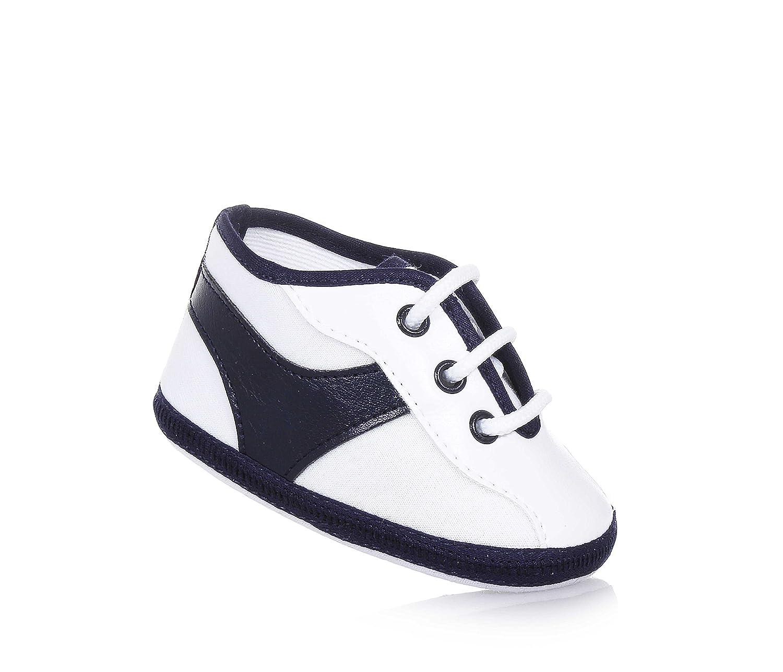 BABY VIP - Blauer Schuh für die Wiege mit Schnürsenkeln aus Stoff, made in Italy, äußerst bequem und flexibel, Baby Jungen-17
