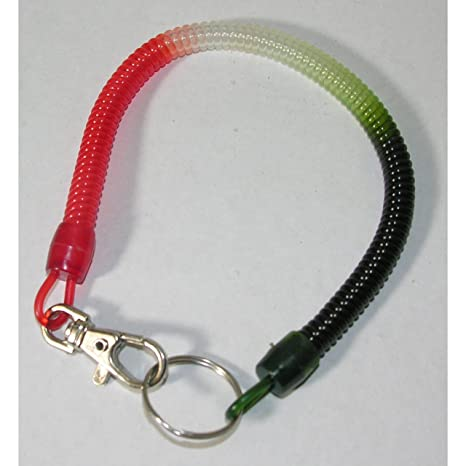 Llavero Llavero espiral 29 cm rojo blanco verde mosquetón + ...