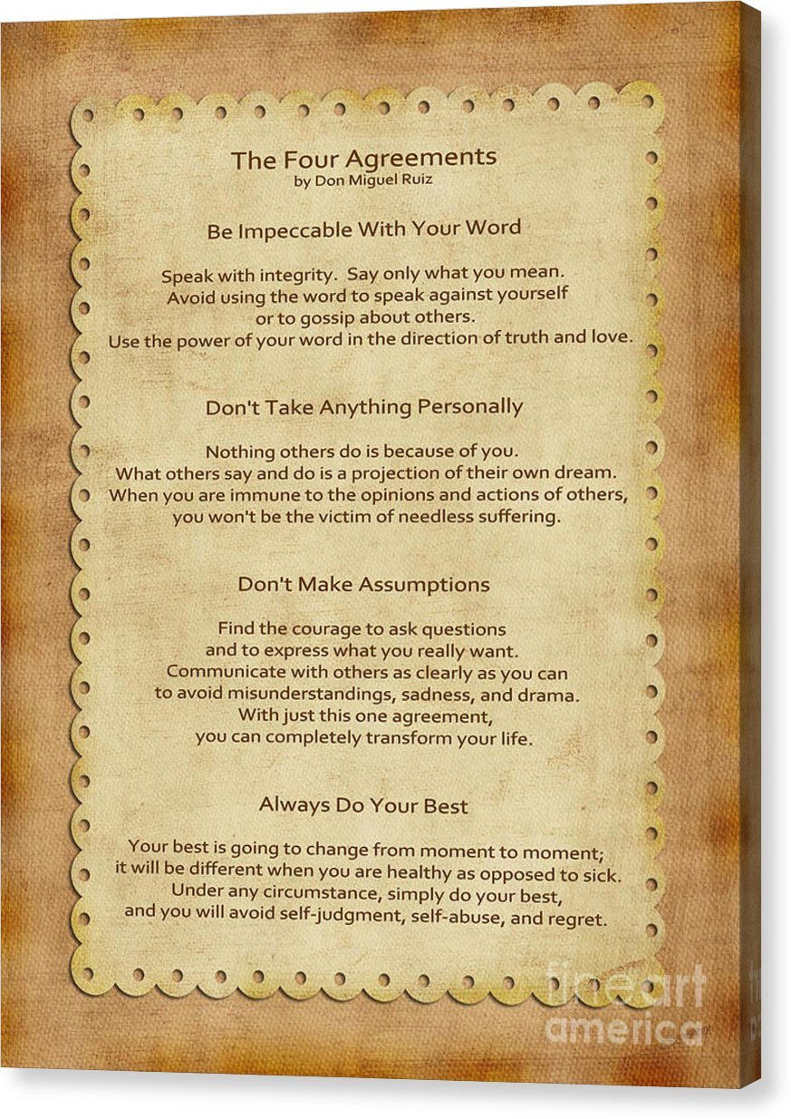Amazon 41 The Four Agreements By Joseph Keane Canvas Print