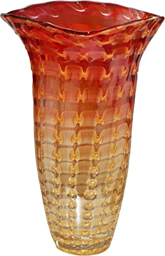 Dale Tiffany Titian Ruffle Hand Blown Art Glass Vase, Amber