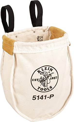 Klein Tools 5141P Heavy Tool Bag, No. 8 Canvas Utility Bag, Reinforced with Tough Tanned Leather, Loop Belt Connection, 10 x 5 x 12-Inch