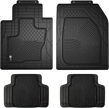 Connected Essentials Tailored Rubber Car Mat Set Black Set of 4