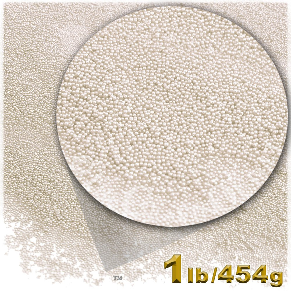 The Crafts Outlet 1-LB/454-g Opaque Finish, Glass, Microbeads 0.6mm, Ideal for Caviar Nails, Opaque Pearl
