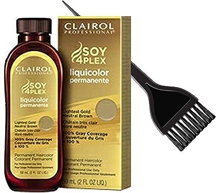 Coty Clairol ProfessionalClairol Soy4Plex LiquiColor - Tinte para cabello líquido permanente (con cepillo para tinte elegante), color gris, 7G / 41G ...