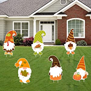 Fall Thanksgiving Yard Sign Decorations Outdoor - 6PCS Large Fall Gnome Swedish Autumn Tomte Elf Corrugated Yard Signs with Stake - Fall Yard Lawn Decorations Walkway Decor