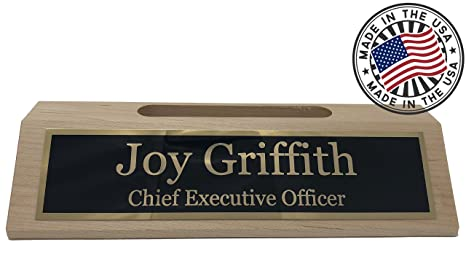 Amazon personalized business desk name plate with card holder personalized business desk name plate with card holder made in usa maple wood colourmoves