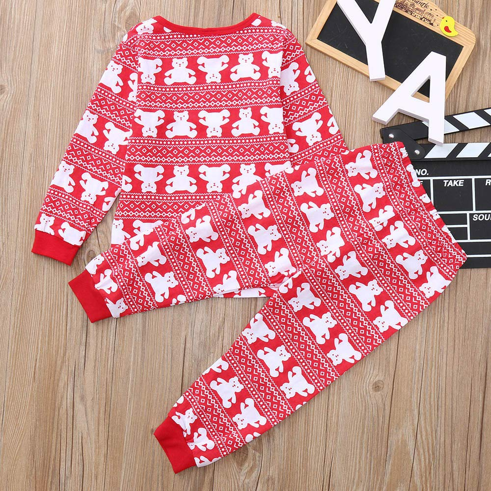 kaiCran 2PCS Toddler Baby Cute Pajamas Sets Long Sleeve Bear Print T-Shirt Pants Christmas Casual Pjs Outfits