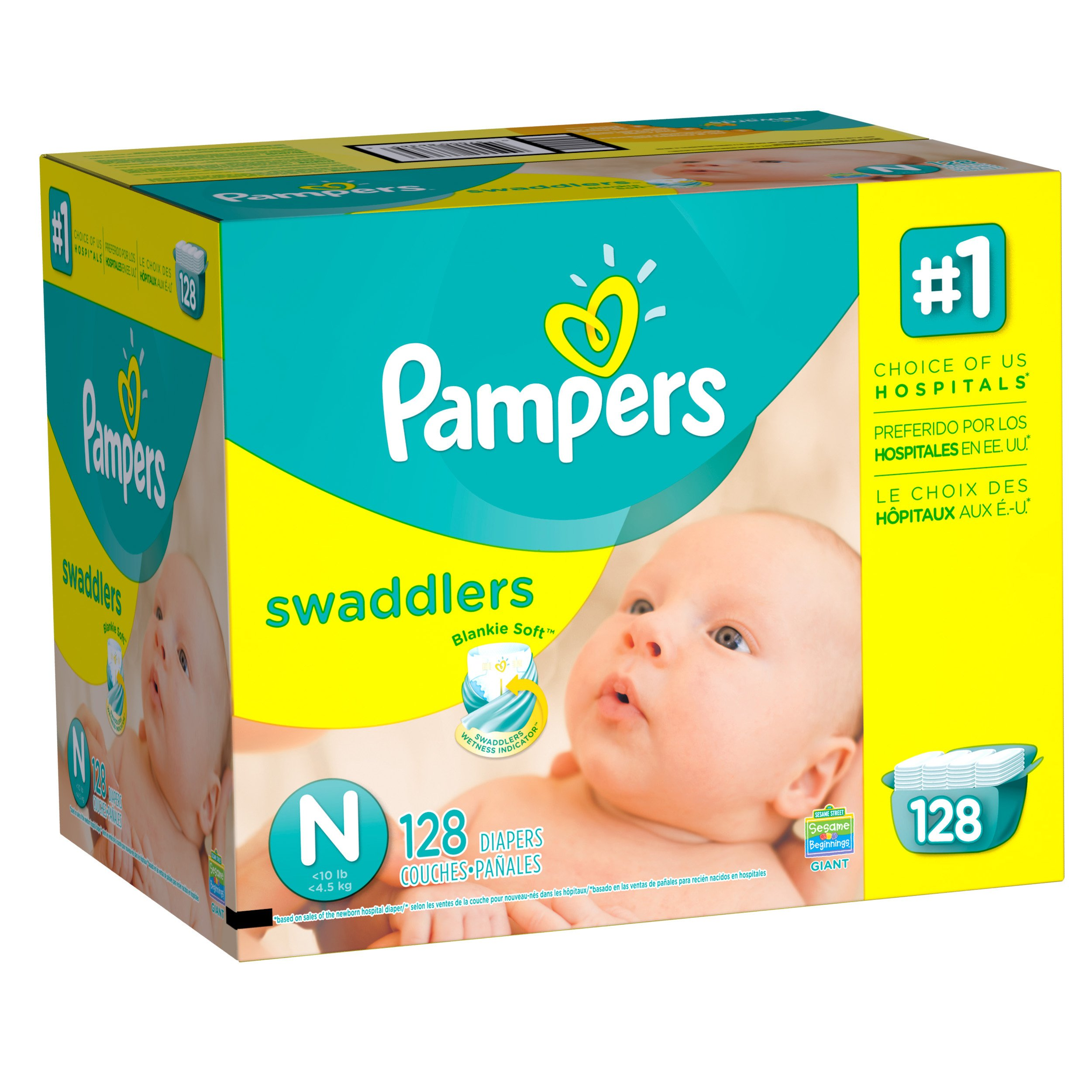 Pampers Swaddlers Disposable Diapers Newborn Size N (<10 lb), 128 Count, GIANT