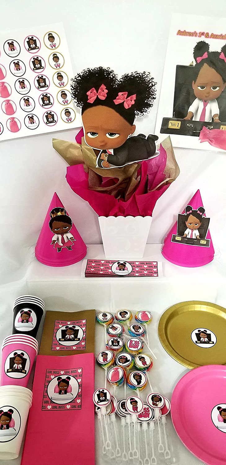 Amazon Com African American Boss Baby Party Pack Pink And