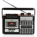 Ricatech PR85 - Back to the 80s - Reproductor y grabador de casetes | Radio AM/FM/SW, ranura USB, tarjeta SD y micrófono integrado