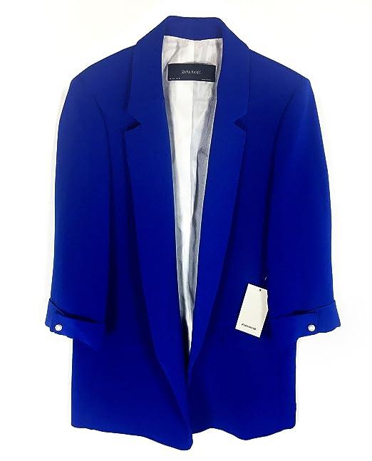 Zara - Chaqueta de Traje - para Mujer Azul L: Amazon.es: Ropa y accesorios