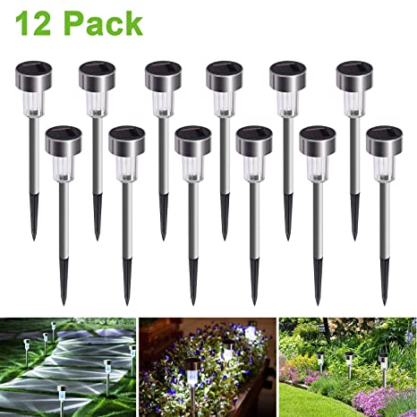 Cynkie Solar Garden Lights Outdoor 12 Pack, LED Solar Powered Pathway Lights,  Stainless Steel