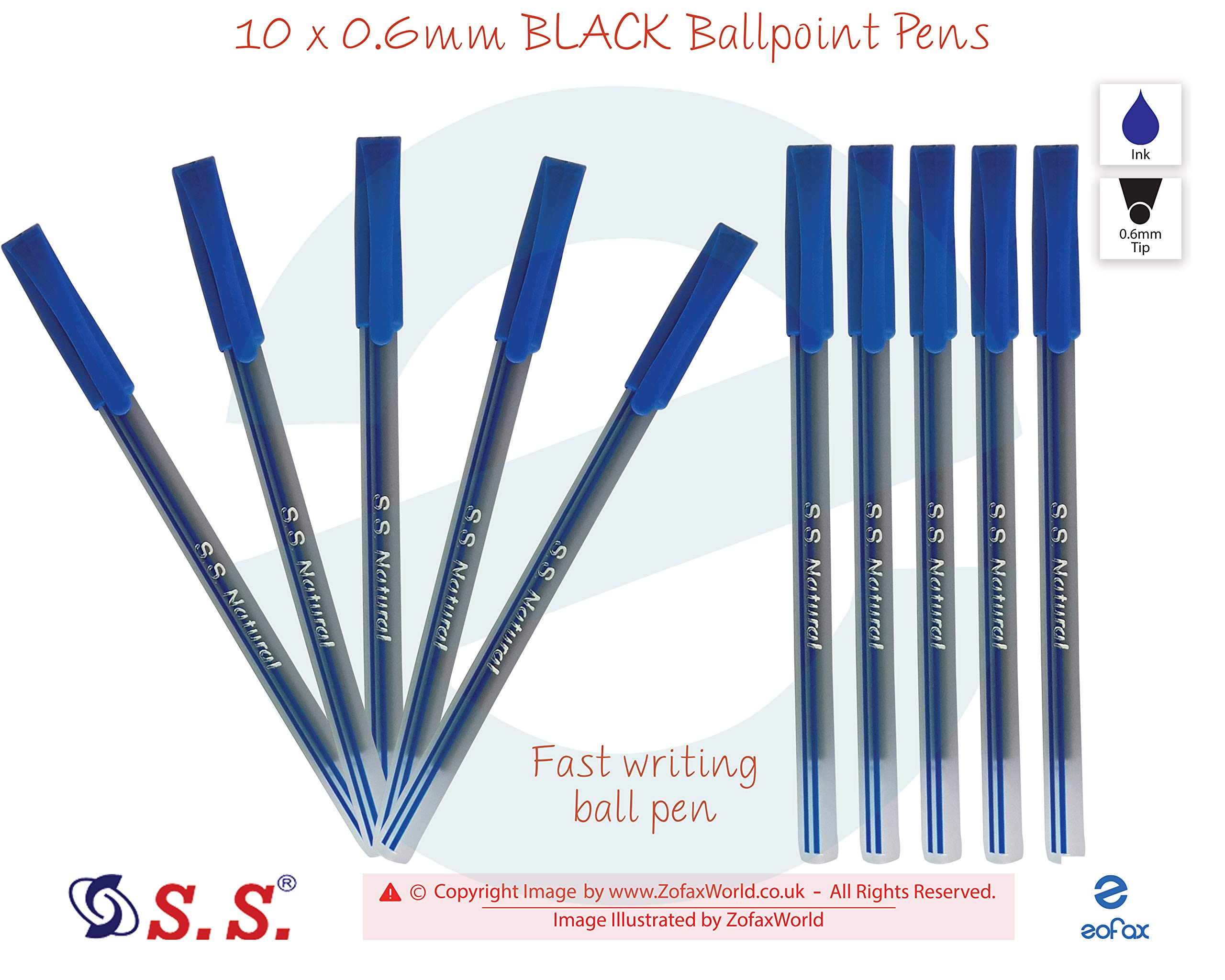 10 x 0.6mm Tip S.S. Natural BLUE Ballpoint Pens Smooth Writing Everyday Use