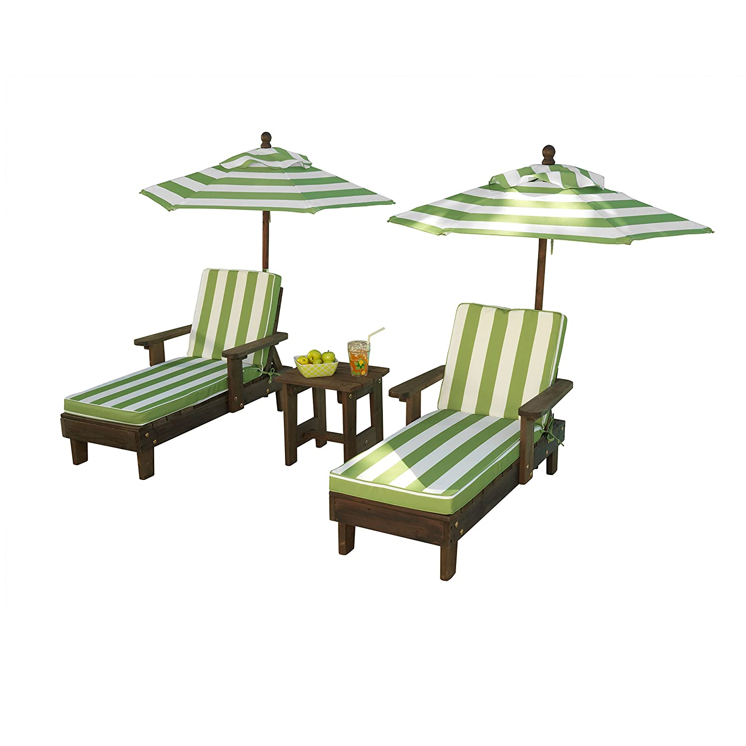 KidKraft Wooden Kona 2 Chaise and Umbrella Set