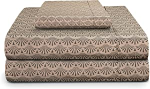 TRIDENT Twin Sheet Set, 100% Cotton, Percale Weave, Peach Finish, Deep Pockets fits Upto 15 inch, 3 Piece Bed Sheet Set (Twin, Diami) - Feather Tales Collection