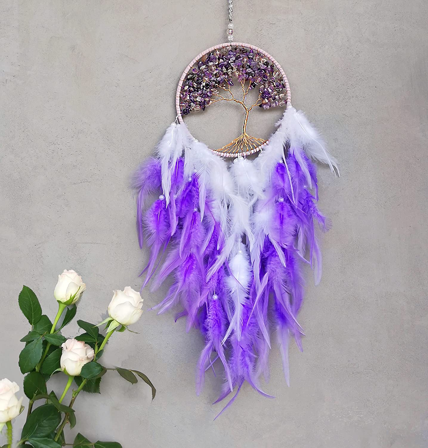 Tree of Life Dream Catcher with Natural Healing Crystals, Handmade Wall Hanging Ornament Home Decoration in Elegant Package, Crystals Dream Catcher for Bedroom As Best Wishes Blessing Gift(Purple)